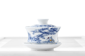 Blue And White Gaiwan With Oriental Scenery