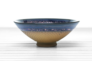 Сonical Tea Bowl With Purple And Pink Mottled Glaze