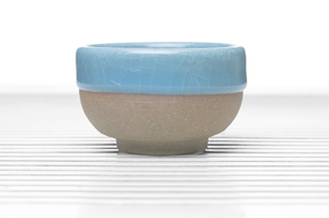 Hemisphere Tea Bowl With Greyish Blue Crackle Glaze