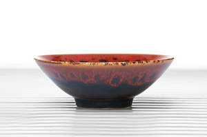 Crimson Glazed Conical Tea Bowl With Golden Leaf Pattern  And Wide Foot