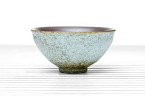 Hemisphere Tea Bowl With Eggshell Crackle Glaze